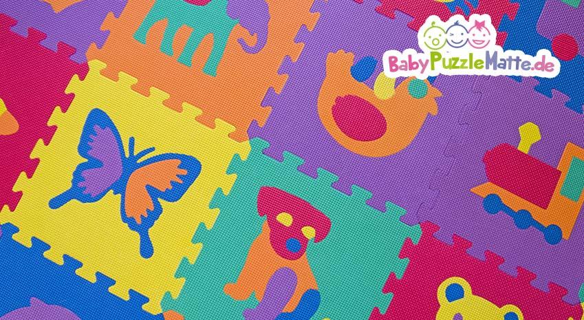 Teile einer Puzzlematte ohne Schadstoffe für Kinder und Babys