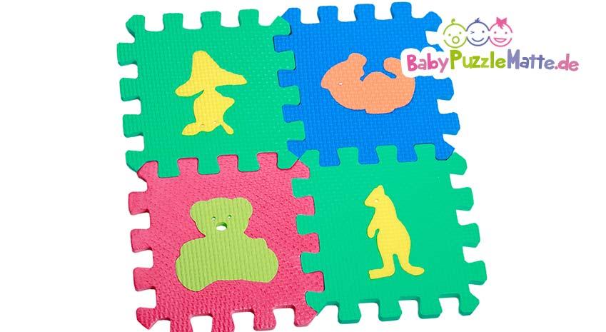 Eine Spielmatte für Kinder und Babies als Puzzlematte Tiere Motiv