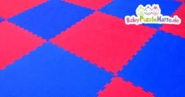 Puzzlematte Formamidfrei in blauen und roten Mustern